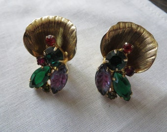 Large Vintage Goldtone Clip On Earrings with Faux Red Green Purple Rhinestones Shell Leaf Design