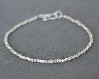 Simple bracelet / Faceted Karen hill silver bead bracelet  / Silver bracelet / Karen silver bracelet / Friendship bracelet