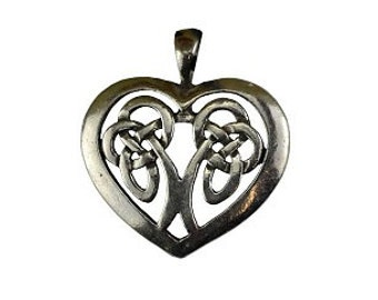 Heart Celtic Knot Pendant - Pewter, Celtic heart, Celtic jewelry, Silver heart