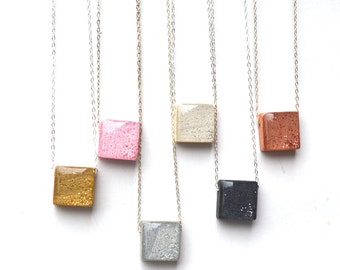 Eco friendly square pendant necklace wood necklace  starlightwoods