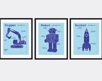 Robot, Digger, Rocket Art Prints Trio.  8X10 Art Print Home Decor set of a Blueprint Digger, Robot & Rocketship.