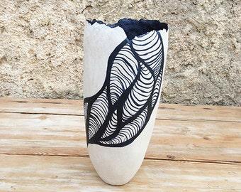 Ceramic vase, black and white organic design