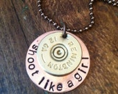 "Handstamped ""Shoot Like A Girl"" Necklace with recycled shotgun shell"