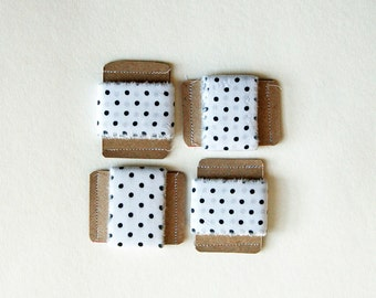 polka dot fabric ribbon, black and white, DIY, eco packaging, gift wrap supply- set of 4