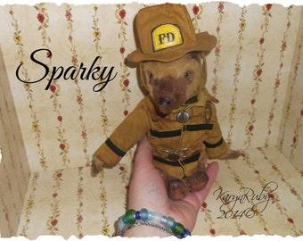 8 inch Bear ~ 'Sparky Firefighter'  Vintage Style ~ by Artist KarynRuby