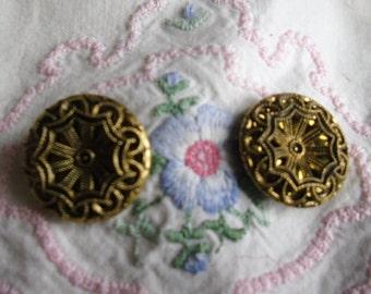 "Antique Buttons - 2 Brass Filigree Twinkle Shank Buttons - 13/16"" Diameter"