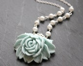 SALE Filigree Rose Flower and Pearl Necklace in Duck Egg Blue and White- Silver Plated Chain, Romantic Shabby Chic Jewelry, Gifts for Her