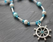 SALE Nautical Sailor's Wheel Necklace, Blue Beaded Necklace with Silver Plated Clasp, Beach Gift for Her, Blue Sea Jewelry