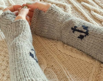 Knitting PATTERN Knit Anchor Arm Warmers 12 inches long