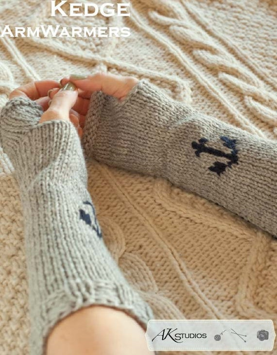 Knit Arm Warmers Pattern : Knitting PATTERN Knit Anchor Arm Warmers 12 inches long