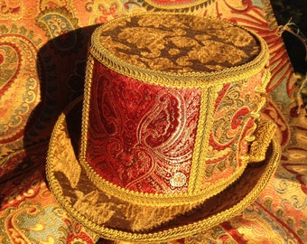 Circus Conductor Top hat in gold and red corset burlesque style