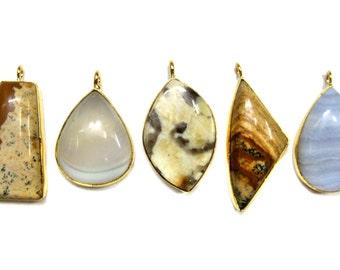 24 kt. Gold Plated Gemstone Cabochon Pendants , 5 piece of fine quality gem stone Pendant , Agate gemstones pendants Jewelry supplies