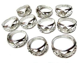 925 Sterling Silver Handmade Celtic ring band , hand cut plain silver high polished metal work designer rings , Indian style aari cut rings