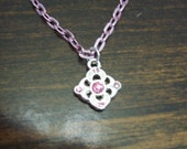 "American Girl 18 "" inch Doll and Girl Silver Diamond Pendant with PINK rhinestones Pink Chain Necklace Jewelry Accessories Bracelet Child"