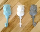 Cast Iron Owl Hook // Jewelry Necklace Key Holder Organizer // Gift