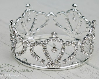 Newborn Baby Girl Tiara Crown - Crystal Crown - Solange - Newborn Baby Girl Infant Tiara Crown