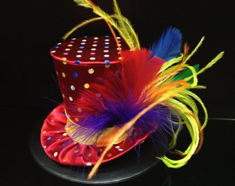 Rainbow Circus Carnival Mad Hatter Mini Top Hat