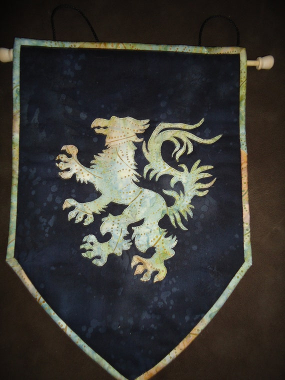 Green Griffin Banner Wall Hanging Coat Of Arms Quilted