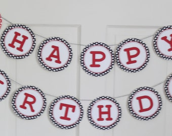 POLKADOT MINNIE MOUSE Inspired Party Red Polkadot Happy Birthday Banner - Party Packs Available