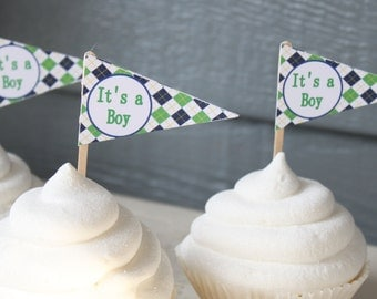 PREPPY ARGYLE GOLF Happy Birthday or Baby Shower Pennant Cupcake Toppers - Set of 12 {One Dozen}