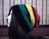 Teen Adult EXTRA Slouch Hat, Rasta Slouchy Beanie, Mens Hat, Slouch Hat, Hippie, Womens Slouchy Beanie, Jamaican, Red Yellow Green