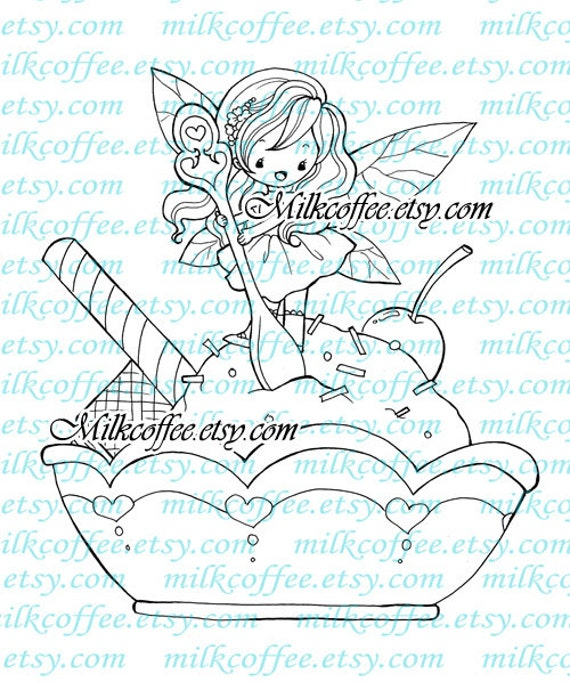 Digital Stamp - Fiona the Fairy and Her Ice Cream