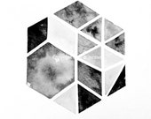 Featured by West Elm! Original Hexagon Triangle Geometric Art / nate berkus inspired / Tribal Ink etsy shop #westelm #geometric