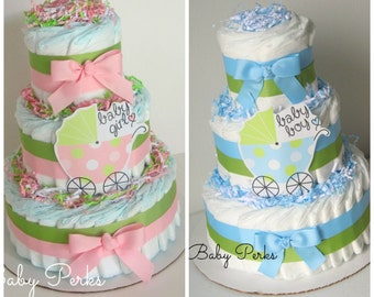 Pink and Green Diaper Cake, Baby Girl Diaper Cake, Carriage Diaper Cake , blue and green Baby Shower Decoration