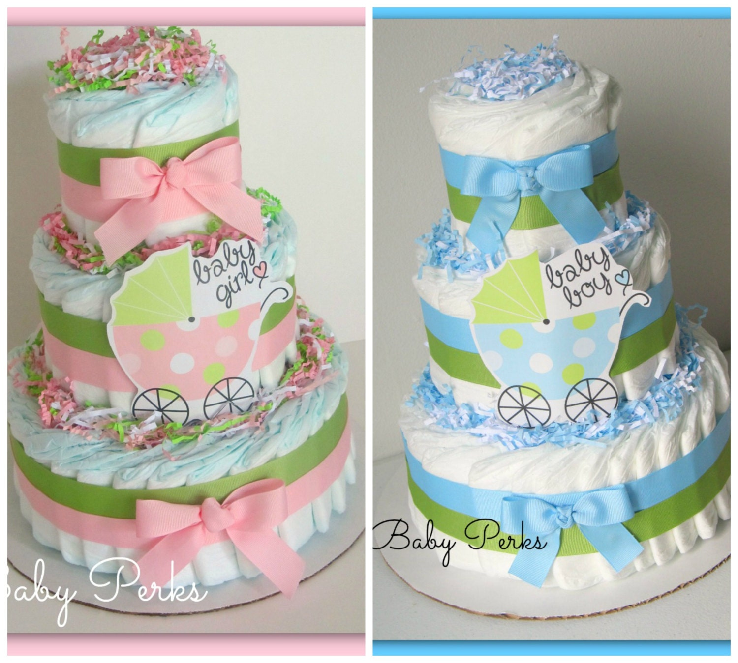 Pink and green diaper cake baby girl diaper cake carriage for Baby diaper cake decoration