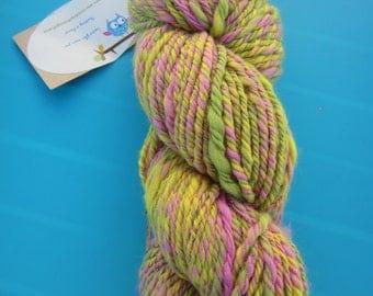 Handspun  yarn, merino,greens, yellows, pinks - sport weight - dk