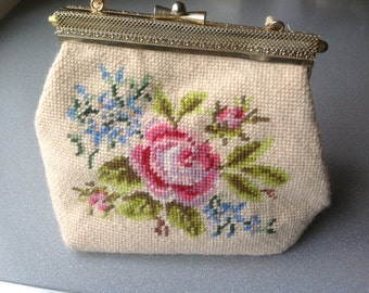 Vintage hand made hand embroidery purse handbag