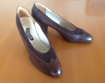 Vintage brown shoes leather and suede N 41