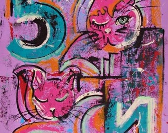 """SALE Original abstract art pink cats 5 th original painting  home office decor 19.5 """" x 25.5 """""""