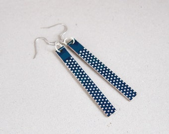 Statement earrings - Circuit board earrings - geekery - Blue dotted earrings - recycled computer