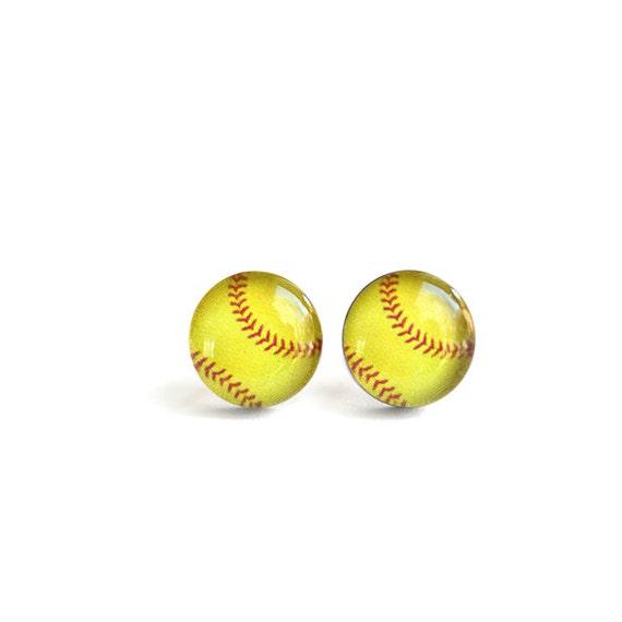 softball post earrings surgical steel stud sport by