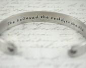 Graduation Gift -She Believed She Could So She Did Secret Message Hand Stamped Bracelet- Personalized Bracelet