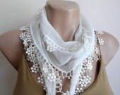 Cream Cotton Scarf , Wedding Shawl, Cowl with Lace Edge Flowers
