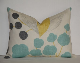 Kravet - Berry Floral in Aqua - Accent Pillow - Sofa Pillow - Designer Pillow Cover - Sunshine Yellow - Charcoal Gray
