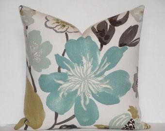 EURO SHAM - Square Decorative Pillow Cover - Aqua Teal Floral - Tan - Grey - Accent Pillow - Throw Pillow - Cushion Cover