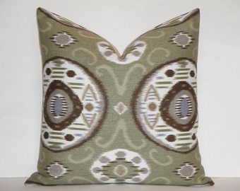 Duralee IKAT- Decorative Pillow Cover / Brown, Taupe, Soft Violet, Olive / Pillow Case / Cushion