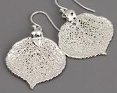Sterling Silver Leaf Earrings - Real Aspen Leaf Earrings -Sterling Silver Drop Earrings, Nature Jewelry - Dangle Earrings