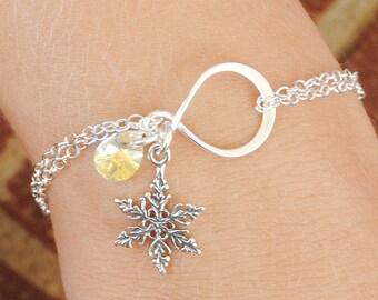 Sterling Silver Snowflake Bracelet - Swarovski Crystal Bracelet - Sterling Silver Infinity Bracelet - Snowflake Jewelry -  Winter Jewelry