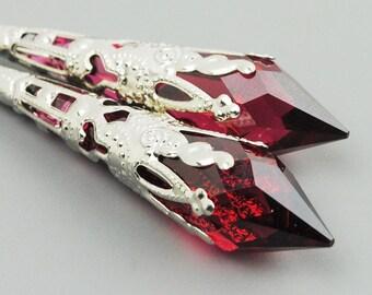 Red Earrings - Swarovski Crystal Drop Earrings - Long Dangle Earrings  - Swarovski Earrings - Leverback Earrings for Women
