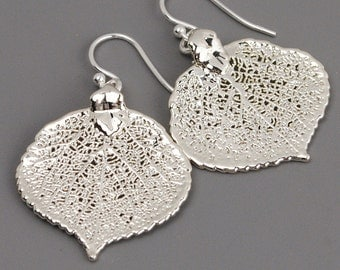 Sterling Silver Leaf Earrings - Drop Earrings - Nature Jewelry - Dangle Earrings