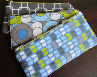 Sunglass/Make-up/Tampon case- Greys and Blues