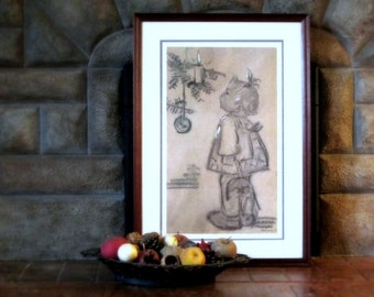 "Hummel ""Sieglinde's First Christmas"" Art Print, Limited Edition Hummel Lithograph Print, Christmas, M.I. Hummel"