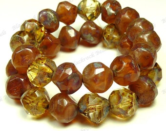 9mm Pink Opal and Crystal Bronze Mix Picasso Czech Glass Beads - 15pc Strand - Faceted, Central Cut, Baroque - BE41