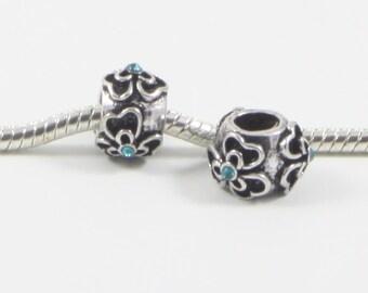 3 Beads - Blue Flower Barrel Rhinestone Silver European Charm Bead E0659