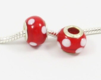 3 Beads - Red White Dots Lampwork Silver European Bead Charm E0090