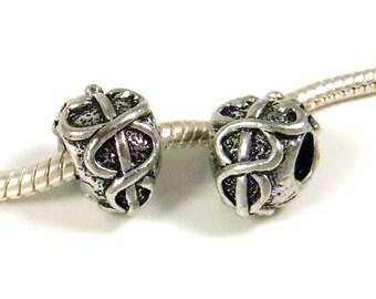 3 Beads - Caduceus Medical Symbol Doctor Silver European Bead Charm E0877